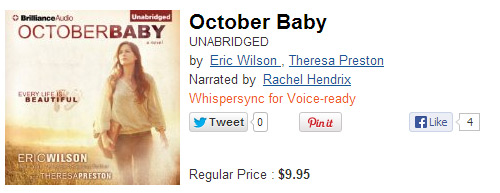 October Baby Audiobook (Full Price)